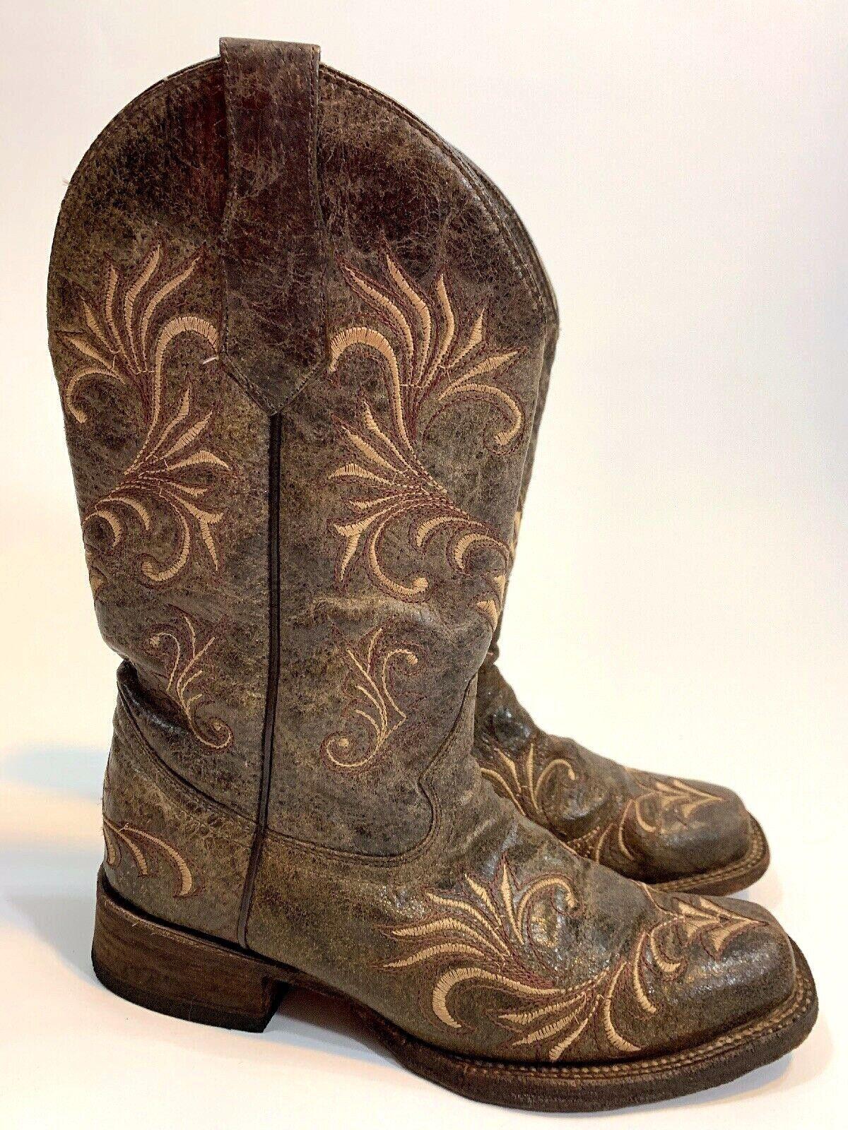 Círculo G Corral botas para Mujer Marrón Dedo Del Pie Cuadrado envejecido Vaquera L5194