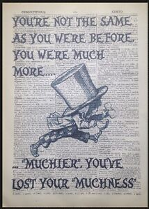 Alice in Wonderland Vintage Print Dictionary Wall Art Picture Mad Hatter Quote