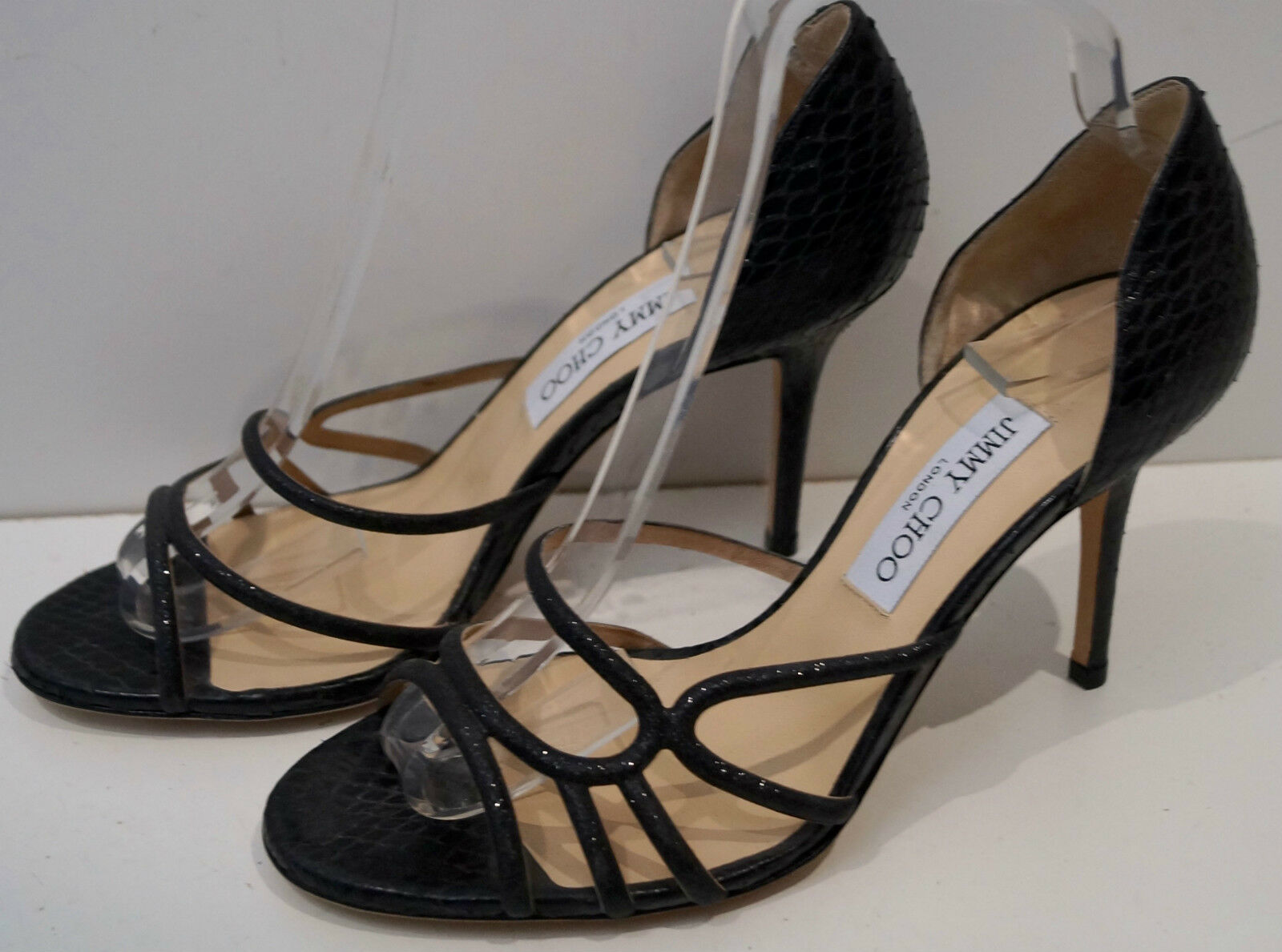 JIMMY CHOO Black Snakeskin & Sparkle Strappy High Heel Sandals shoes EU39 NEW