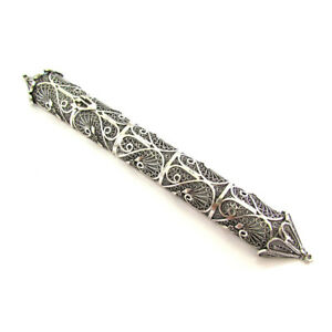 Details about Mezuzah Case Yemenite Filigree 925 Sterling Silver Judaica Jewish wedding gift
