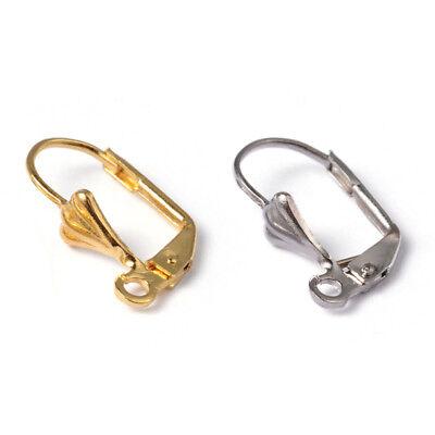 20pcs Brass French Leverback Earwires Hoop Earring Findings Nickel Free 18x10mm