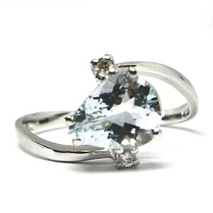 Bague-en-or-Blanc-750-18k-Aigue-Marine-Coupe-Goutte-Diamants