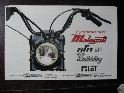 MOTO CYCLOMOTEUR MALAGUTI 1980 CATALOGUE PROSPECTUS FITTY A5 DRIBBLING PILOT