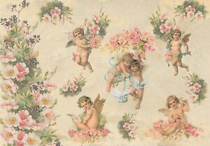 Rice Paper for Decoupage Scrapbook Craft Sheet Small Angels