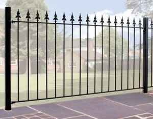 4ft High Spear Top Wrought Iron Metal Fencing Railings Panel Ebay