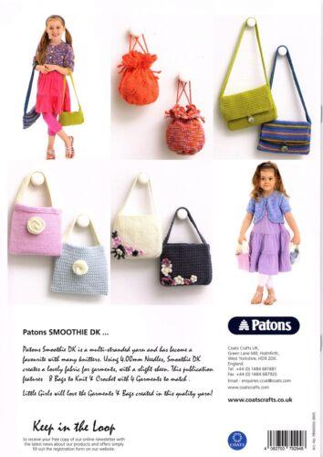 Patons Tejer patrón Libro 3805 bolsas de las Niñas Prenda de Punto /& Crocket