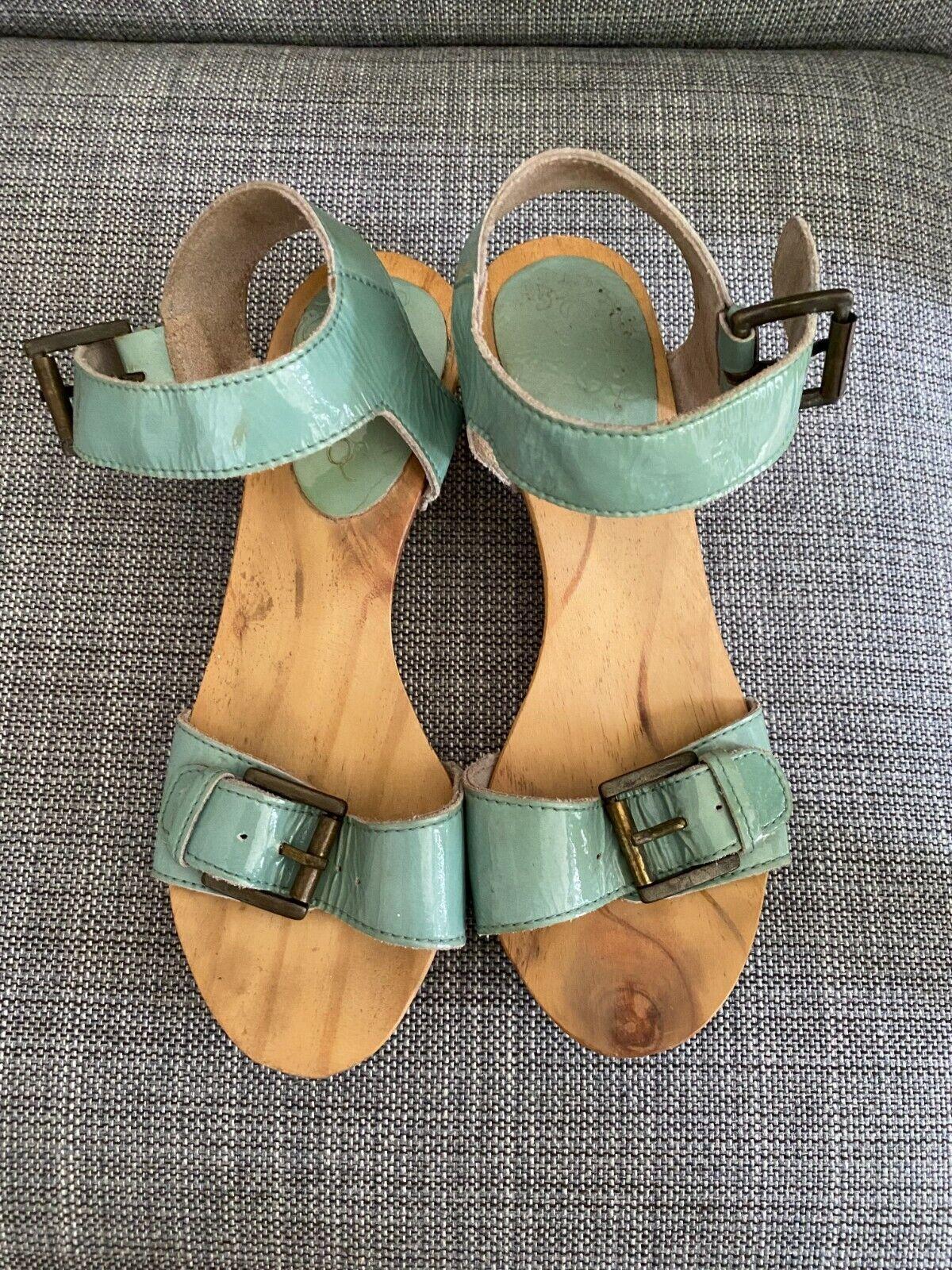 Women's Retro Talon en bois sandales chaussures vernies Bleu Bracelet Boucle EUR taille 37