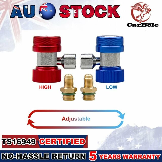 """A/C R134A Quick Couplers Adapter Manifold Connector 1/4"""" SAE HVAC High/Low Side"""
