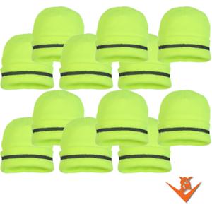QTY  12 Safety Beanie - Hi-Viz Lime Knit Winter Cap - FREE SHIPPING