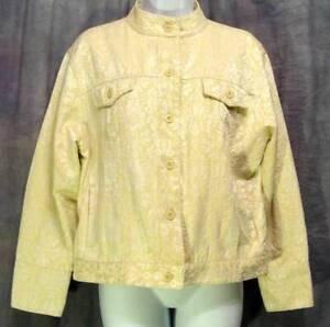 VINTAGE-BAND-Collar-GOLD-White-Brocade-Jacquard-BILL-BLASS-JEANS-Crop-Jacket-PL