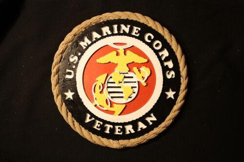 "MARINE CORPS VETERAN- Mantle Plaque U.S - NEW 11/"" X 1/"" Made in U.S! Painted"