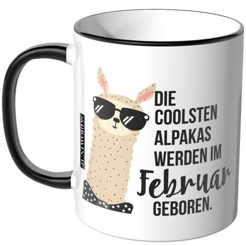 "Februar geboren/"" Geschenk Geburtstag JUNIWORDS Tasse /""Die coolsten Alpakas"