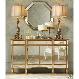 Incroyable Image Is Loading Console 3 Drawers 4 Doors Gold And Mirrored