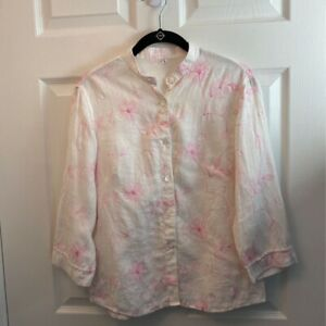 Maharajas-Womens-Blouse-Multicolor-Pink-Floral-Long-Sleeve-Embroidered-Linen-L