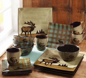 Image is loading Square-Dinnerware-Set-16pc-Wildlife-Cabin-Lodge-Plates- & Square Dinnerware Set 16pc Wildlife Cabin Lodge Plates Rustic Dishes ...