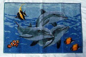 Dolphin Sea Nylon Plush Bath Rug - 20 Inches X 30 Inches
