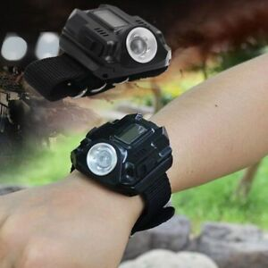 Tactical-LED-Rechargeable-Wrist-Watch-Flashlight-Torch-Compass-Outdoor-Hiking