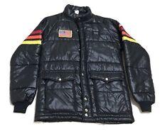 vintage Simpson Racing Black Puffer Jacket Stripes On Sleeve Patch Sz S USA rare