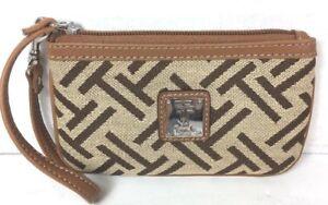 Tignanello-Small-Tan-with-Brown-Signature-Fabric-Wristlet-Pouch