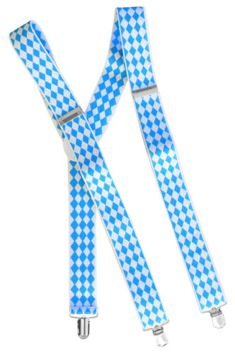 06871 bretelles pantalon support avec pression-Bleu Blanc Bavière losange-NEUF