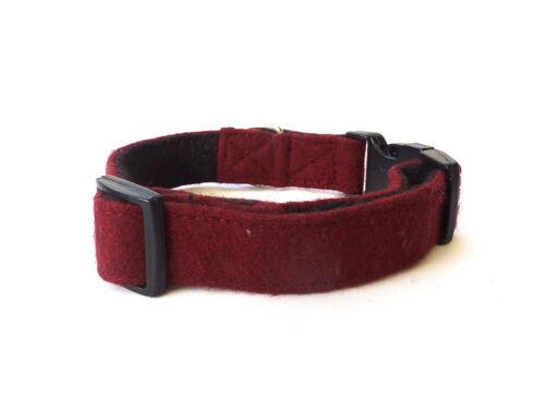 Luxury Wool Maroon Dog Collar Fleece Lined Comfortable and Adjustable 3 Sizes