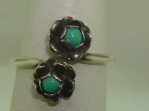 VINTAGE-1940-039-S-SIGNED-MEXICO-STERLING-SILVER-TURQUOISE-CROSSOVER-RING-UNIQUE