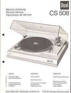 Dual Original Service Manual Für Cs 508 Supplement Die Vitalenergie Und NäHren Yin Anleitungen & Schaltbilder