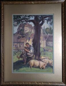 ANTIQUE-VINTAGE-AUSTRIAN-FARM-PIGS-BAGPIPER-FRITZ-ZERRITSCH-FINE-ART-PAINTING