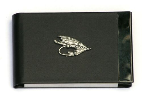 Fishing Fly Design Black PU and Metal Business or Credit Card Holder Gift
