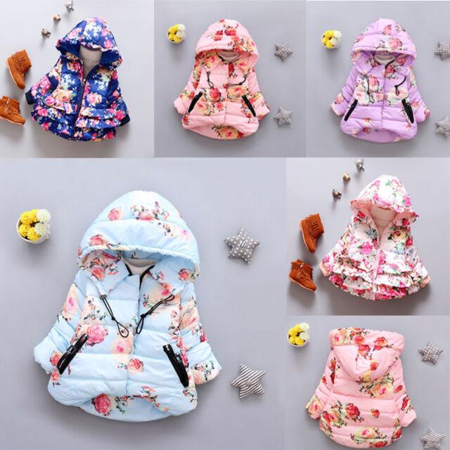 2017 Winter Jacket For Girls Infant Down Coat Kids Warm Floral Outerwear Coat