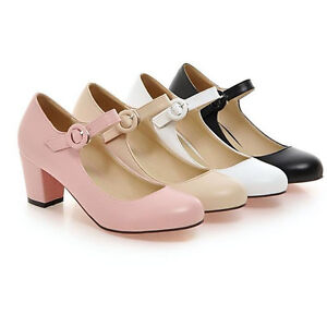 Women-039-s-Ankle-Strap-Mid-Block-Heels-Pumps-Mary-Jane-Court-Shoes-Round-Toe-Size