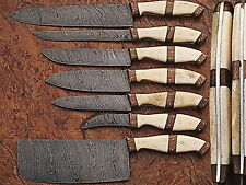 EST CUSTOM HAND MADE DAMASCUS BLADE 7 PCS KITCHEN/CHEF KNIFE SET 107-7