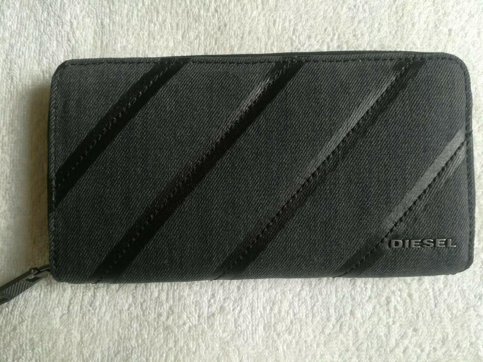 Envelope Wallet Diesel,Black,100%Cotton/Leather,Zip,Around,Women's