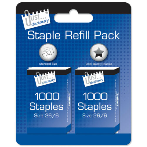 JUST STATIONARY 26//6 DURABLE STAPLES ORIGINAL PACKAGING. BOX OF 2000