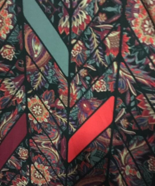 NWT LuLaRoe CARLY  SMALL     PAISLEY FLOWERS with RIBBONS  Red orange bluee c66a10