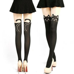 3b7c98a05 Women Knee High Stockings Hosiery Long Socks Cat Printed Tights Warm ...