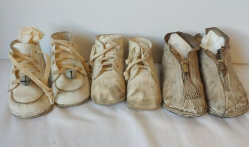 3 Pairs Vintage Leather Baby Toddler Shoes Antique