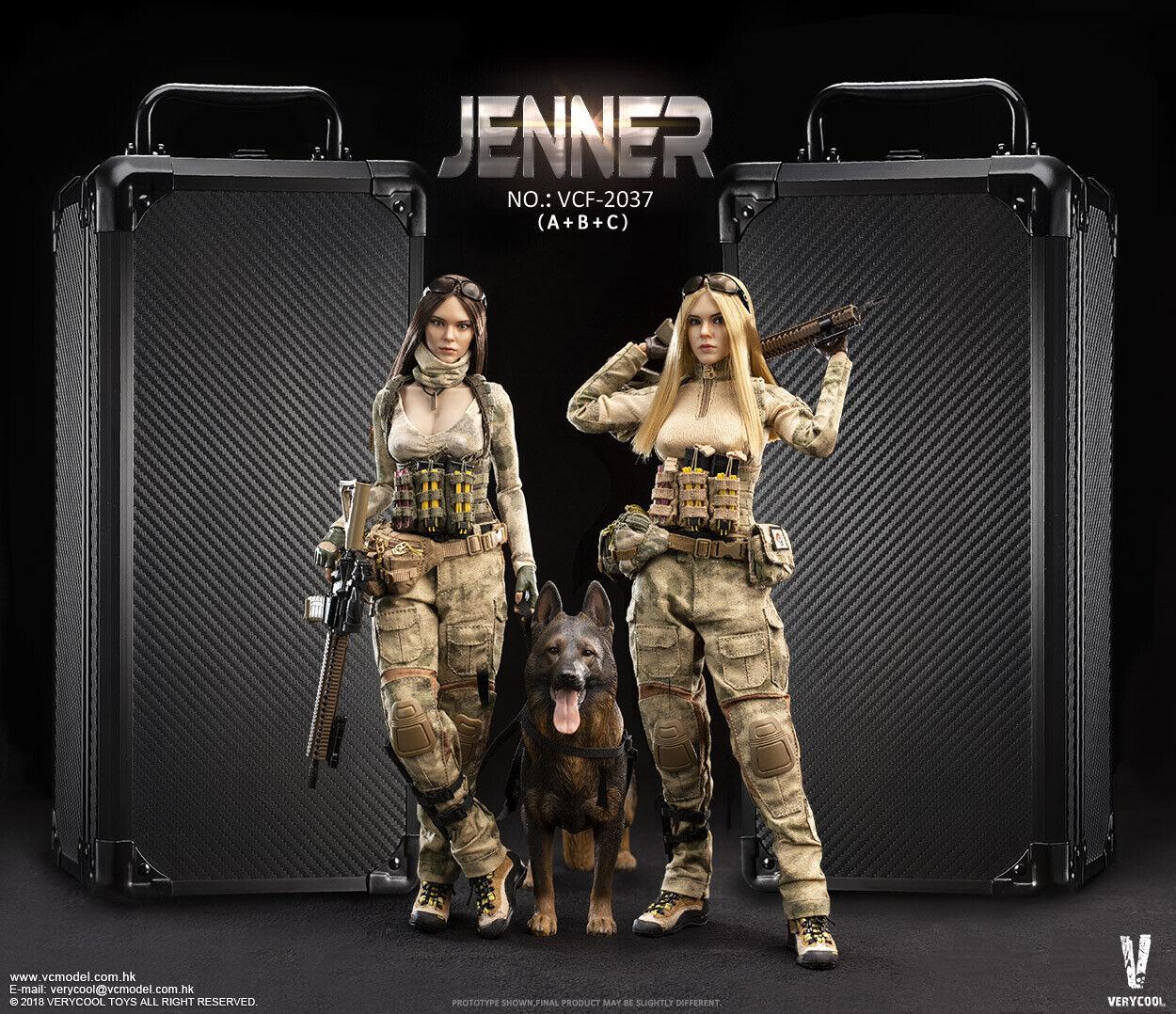 Verycool 1 6 A-tacs Grupo de Combate Mujer SOLDADO-Jenner + conjunto de perro pastor alemán VCF-2037