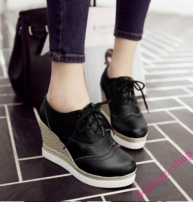 Ladies PU Leather Platform Wedge High Heel Lace Up Wing Tip Brogue Shoes UK Size