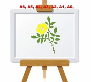 5-Petal-Rose-Flower-amp-Leaves-Stencil-350-micron-Mylar-not-thin-stuff-FL034