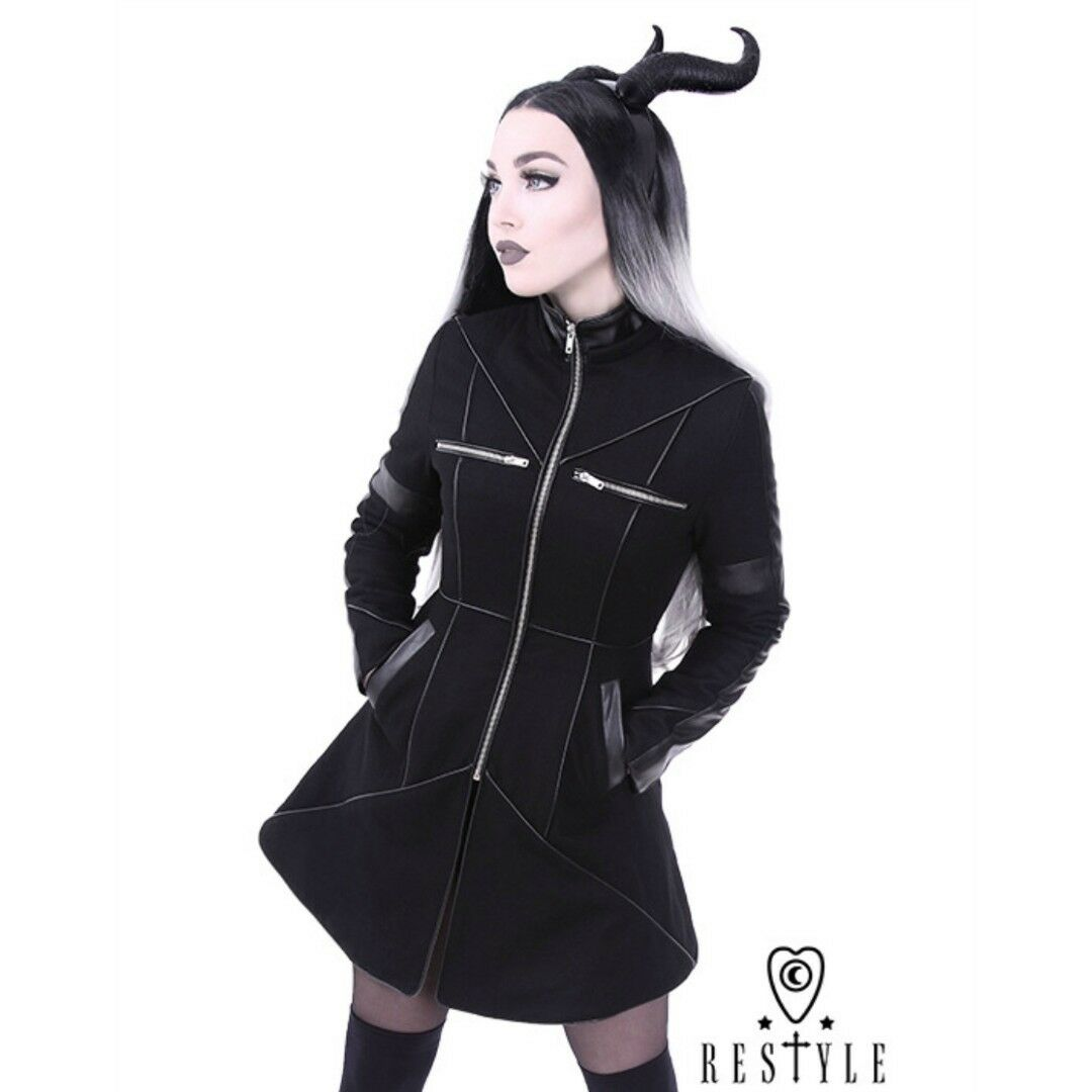 Restyle Gothic Geometry Winter Coat Witchy Alternative Alternative Alternative Occult Punk Faux Leather 48a90d