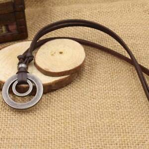 Men-Women-Double-Ring-Adjustable-Leather-Cord-Necklace-Pendant-Jewelry-J