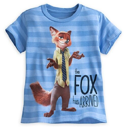 """DISNEY STORE ZOOTOPIA NICK WILDE STRIPED TEE T-SHIRT  /""""THE FOX HAS ARRIVED/"""" NWT"""