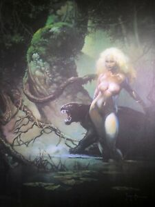 FRANK FRAZETTA Cat Girl FANTASY Litho PRINT 17x22 Vintage #125 Full Color