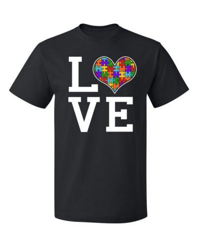 Colored Autism Awareness Love Heart Jigsaw Puzzle Men/'s T-shirt