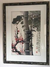Wang Xiao-Ping Watercolor of Peonies and Bamboo Chinese Nice!