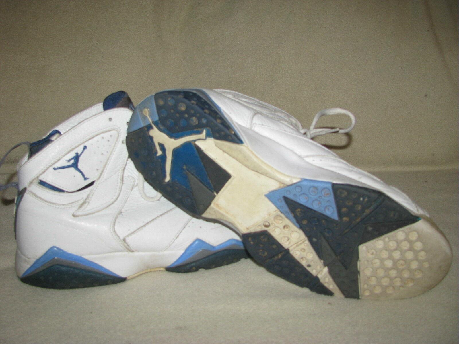Nike 2002 airjordan vii 7 retro bianco / blu / grigio scarpe francese 304775-141 sz 12