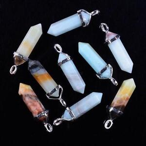 Multi-color-Gemstone-Natural-Crystal-Quartz-Hexagonal-Point-Pendants-Necklaces