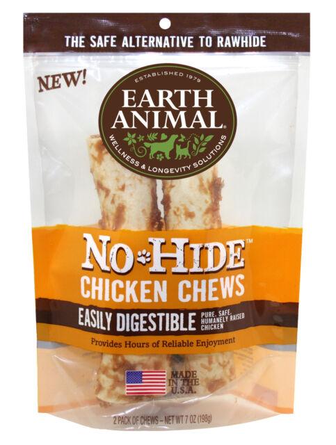 "Earth Animal NO HIDE CHICKEN DOG CHEWS 4""  2 Pak Rawhide Alternative MADE IN USA"