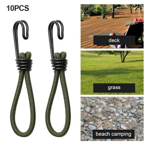 10pcs Camping Hiking Tent Elastic Rope Ground Nail With Spiral Hooks Durable